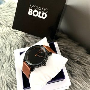 NWT authentic MOVADO leather strap watch